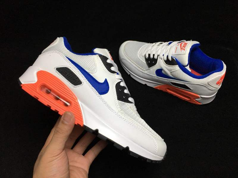 wholesale dealer 2393f a7e6a Nike Air Max 90 Essential White Ultramarine Solar Red 537384 136 Women's  Men's Casual Shoes Sneakers 537384-136A