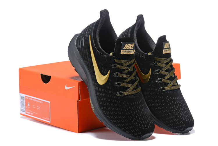 separation shoes ab4a5 15496 Men's Casual Shoes Nike Air Zoom Pegasus 35 Suede Black Gold 728857 007  728857-007