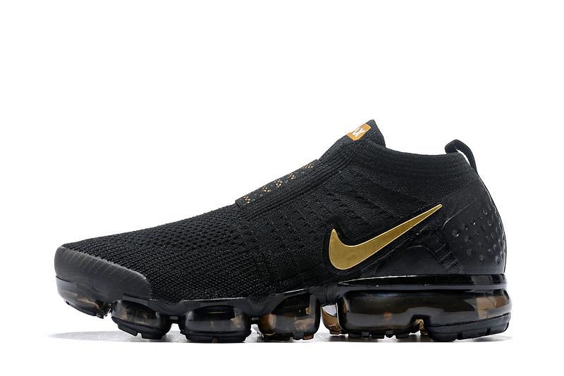 35f794a68445 Nike Air VaporMax Flyknit Moc Black Gold Men s Running Shoes NIKE ...