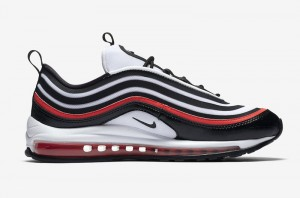 aba1e621bb Nike Wmns Air Max 97 Ultra 17 SE Chicago Bull Black White Habanero Red  AH6806 005