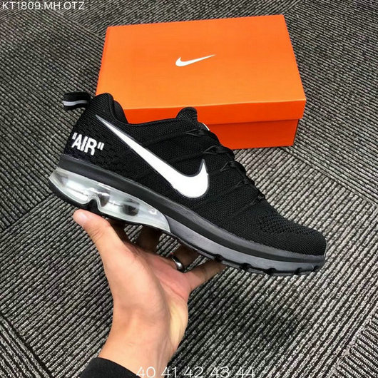 on sale 61963 12028 Nike Air Max 2018 Flyknit Black White Men's Running Shoes NIKE-ST004142