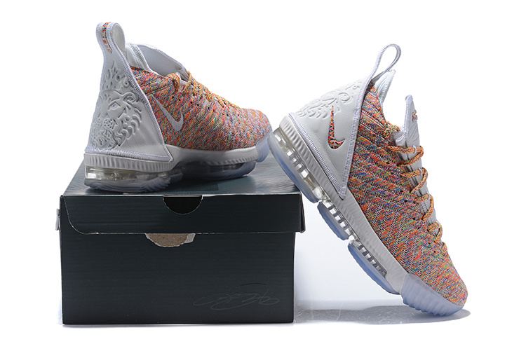 check out 2ecdc 99574 Nike LeBron 16 Cereal White/Multi-Color Men's Basketball Shoes NIKE-ST004174
