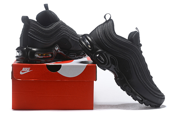 promo code c23dc 5769f Nike Air Max 97 Plus TN Triple Black Men's Running Shoes NIKE-ST004406