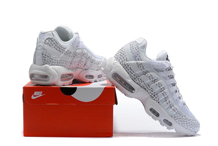 half off 93a5f 17972 Nike Air Max 95 SE Just Do It White Black White AV6246 100 Men's Casual  Shoes AV6246-100