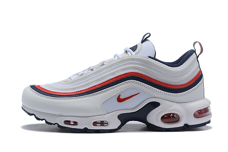 Nike Air Max 97 Plus TN White Navy Blue Red Men's Running Shoes NIKE ST004407