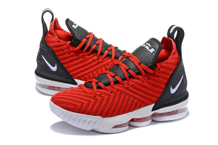 0dbe3f21375 Nike LeBron 16 RED WHITE BLACK Men s Basketball Shoes NIKE-ST004172 ...