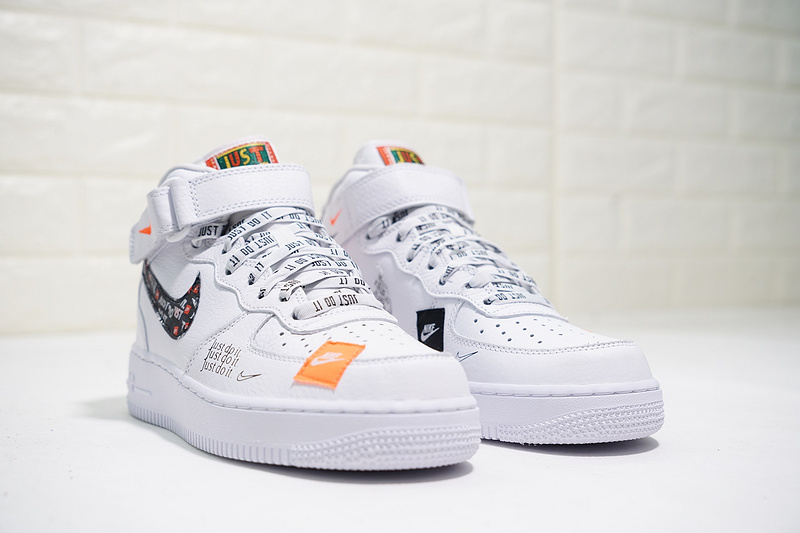 5c68c5ee704 Just do it Nike Air Force 1 Mid White Black Orange AQ8650-100 Women s Men s