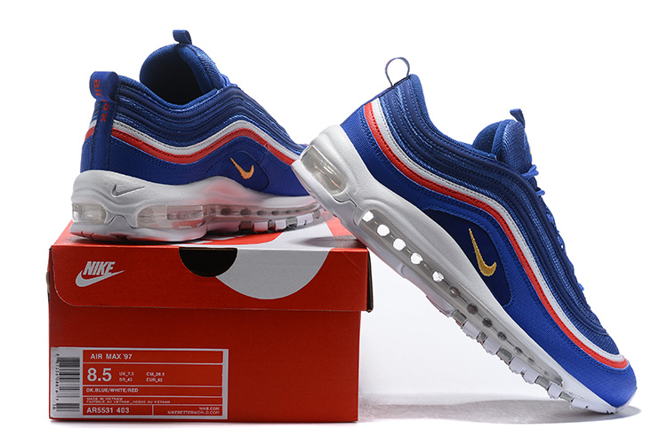 3ba6117d76 Nike Air Max 97 Atlantic Blue Gold Red White AR5531 403 Men's Casual ...