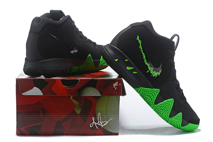 the latest 224f0 b252c Nike Kyrie 4 Halloween Black Green 943806-012 Mens Basketball Shoes