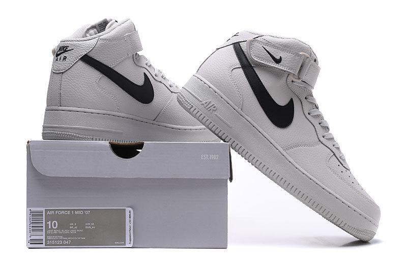 release date: e0cb7 5e778 Nike Air Force 1 Mid Light Bone Black 315123 047 Women's Men's Casual Shoes  Sneakers 315123-047