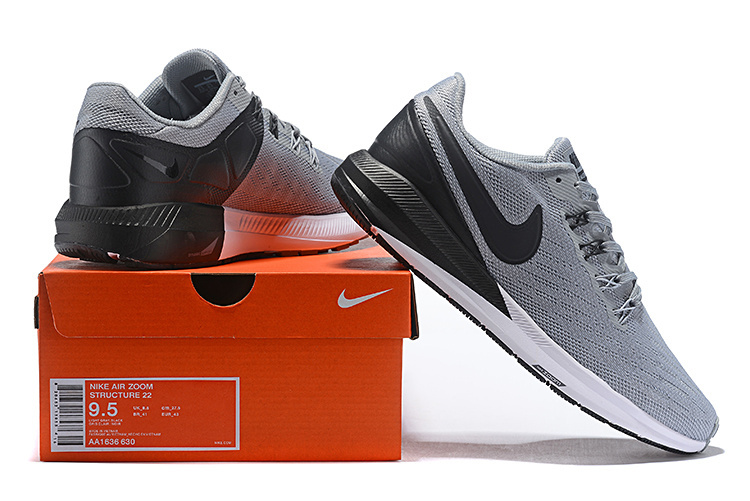 Nike Air Zoom Structure 22 Wolf Grey Black White AA1636 630 Men's Casual Shoes Sneakers AA1636 630