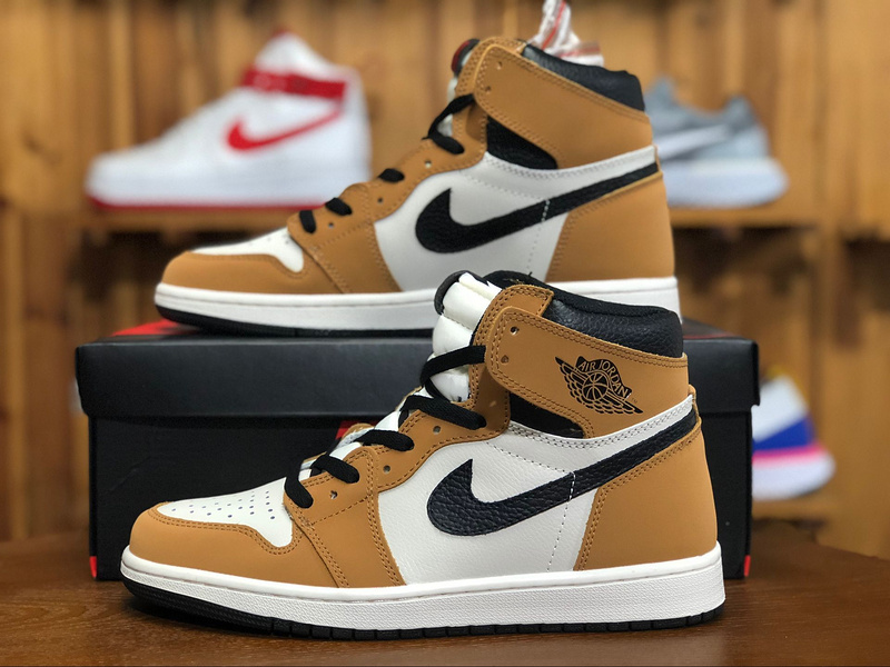 a few days away high quality order Air Jordan 1 Wheat Brown White Black 555088 700 Mens Athletic Basketball  Shoes 555088-700b