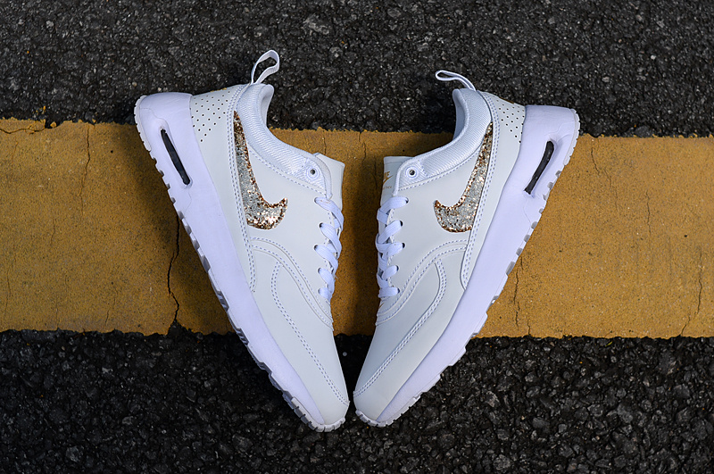 Good Nike Air Max Thea 87 Creamy White Metal Gold Women's Running Shoes Sneakers NIKE ST004179