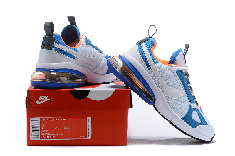 Nike Air Max 270 Futura WhiteTotal OrangeBlue Heron AO1569 100 Women's Men's Casual Shoes AO1569 100