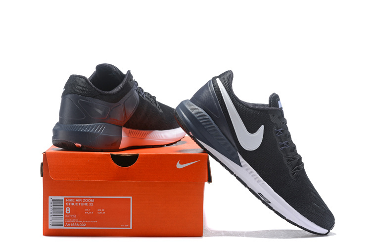 the best attitude c1cfa cbd83 Nike Air Zoom Structure 22 Black/White-Gridiron AA1636 002 Men's Casual  Shoes Sneakers AA1636-002