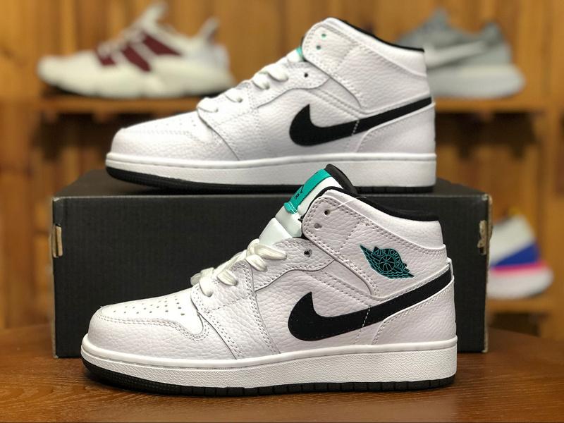 new arrivals 9cb75 78af0 Air Jordan 1 Mid GS Hyper Jade White Black 554725 122 Womens Athletic  Basketball Shoes 554725-122