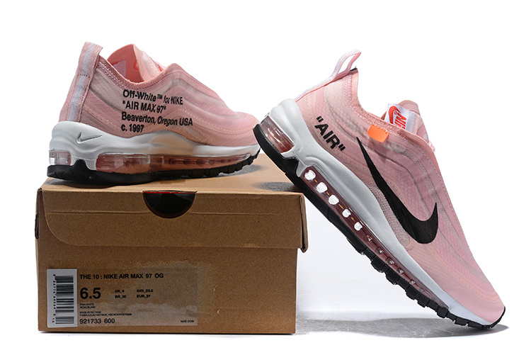 pretty nice 95fc6 e5ae6 OFF white x Nike Air Max 97 Pink White Black 921733 600 Women's Casual  Shoes 921733-600