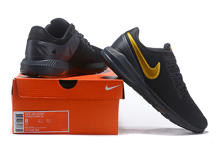 57b1096cf08e Nike Air Zoom Structure 22 Black Gold AA1636 088 Men s Casual Shoes Sneakers