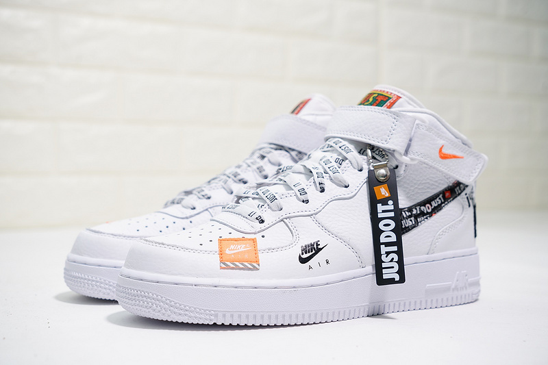 the latest b2fab 27a25 Just do it Nike Air Force 1 Mid White Black Orange AQ8650-100 Women s Men s