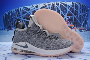 0297cd822bed7 Nike LeBron 15 Low Wolf Grey White Pink AO1756 003 James Men s Basketball  Shoes