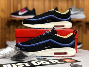 ad4006052b4 Nike Air Max 97 1 Sean Wotherspoon Black Blue White Women s Men s Winter  Casual Shoes