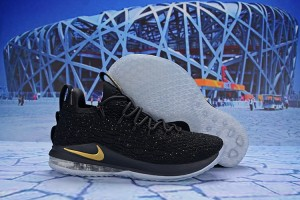 9be466a279c1a Nike LeBron 15 Low Black Gold AO1756 606 James Men s Basketball Shoes