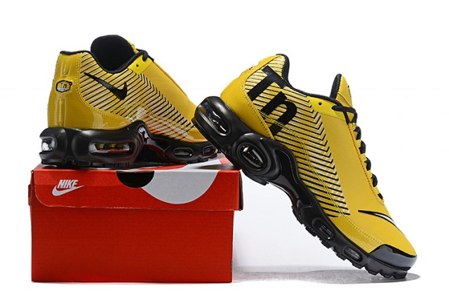 the latest 55d33 39322 Men's Nike Mercurial TN Air Max Plus Yellow Black White Running Shoes  NIKE-ST004732