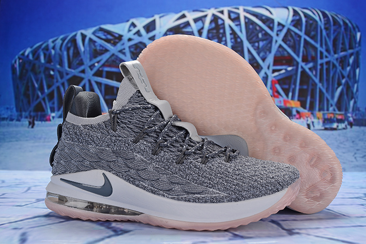 Nike LeBron 15 Low Wolf Grey White Pink AO1756 003 James Men s Basketball  Shoes AO1756-003a  d24ada460