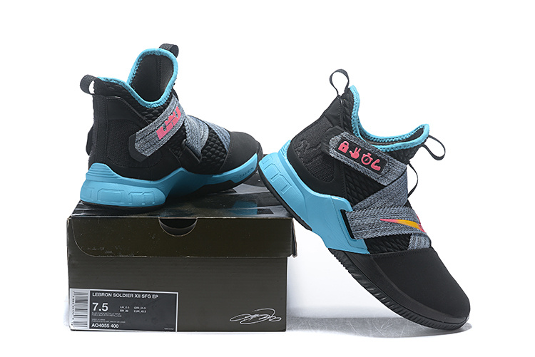 reputable site 976de 39e07 Nike LeBron Soldier 12 South Beach Black Grey Pink Blue Men's Basketball  Shoes NIKE-ST004625