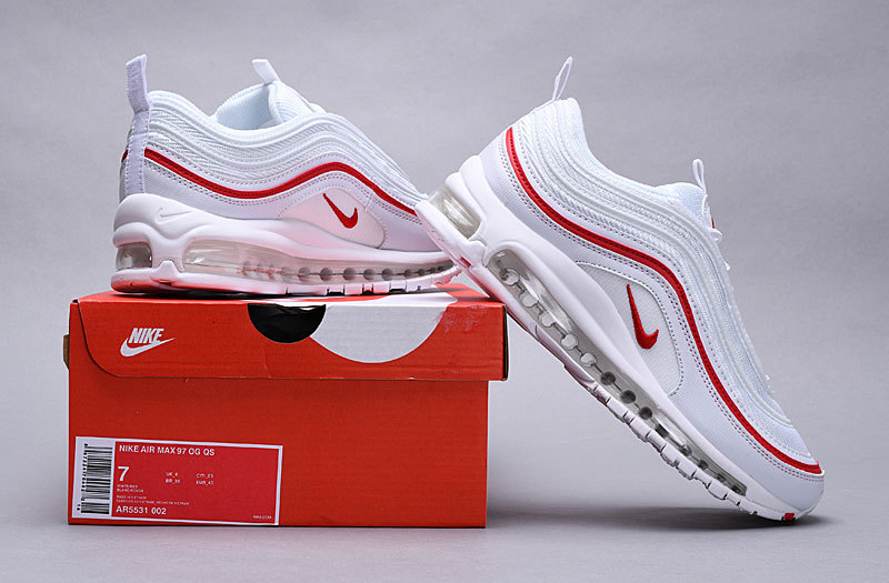 quality design 45bef b40b1 Nike Air Max 97 OG Pure Platinum University Red White AR5531 002 Women's  Men's Casual Shoes AR5531-002A