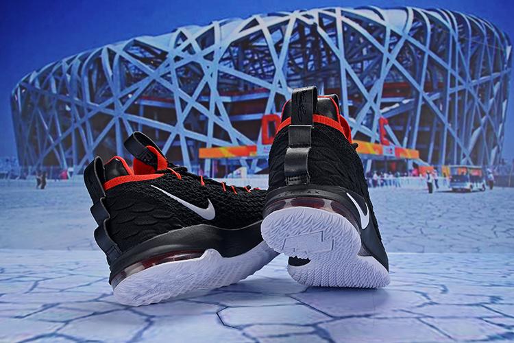 7435418562c5d Nike LeBron 15 Low Black Red White AO1755 608 James Men s Basketball Shoes