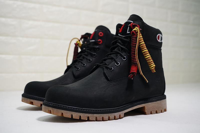 cb6c546b8fdb5 Champion x Timberland Premium 6 Inch Leather Boots A1UCR Champion Black Gum Mens  Waterproof Boots