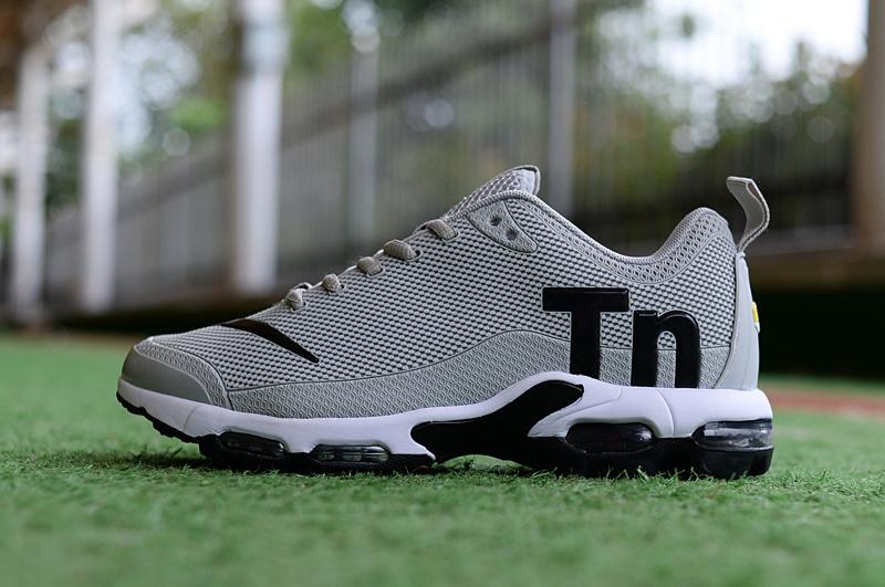 332a90ba6f4 Mens Nike Mercurial Air Max Plus Tn TPU Wolf Grey Black White Running Shoes  NIKE-ST004666