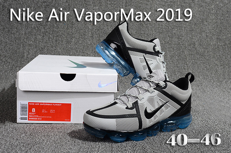 Nike Air VaporMax 2019 KPU Wolf Grey Black Blue 849558 013 Men s ... e0c03fbc1aae