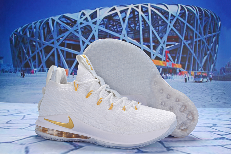 255bdb6fcbb5 Nike LeBron 15 Low White Metallic Gold AO1756 603 James Men s Basketball  Shoes