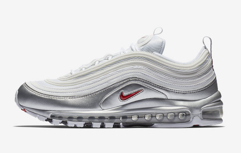 newest 6cac1 27feb Nike Air Max 97 QS White/Varsity Red-Metallic Silver-Black AT5458-100  Women's Men's Winter Casual Shoes AT5458-100