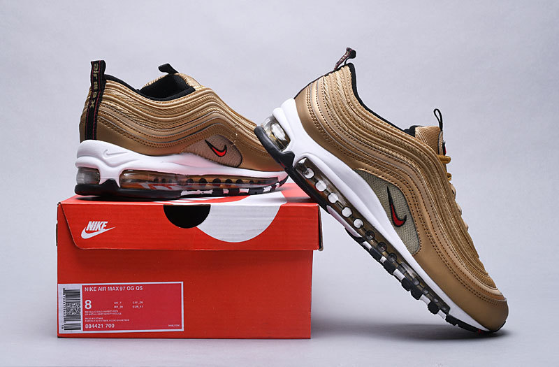 Nike Air Max 97 Metallic Gold Varsity Red 884421 700 Men's Casual Shoes 884421 700