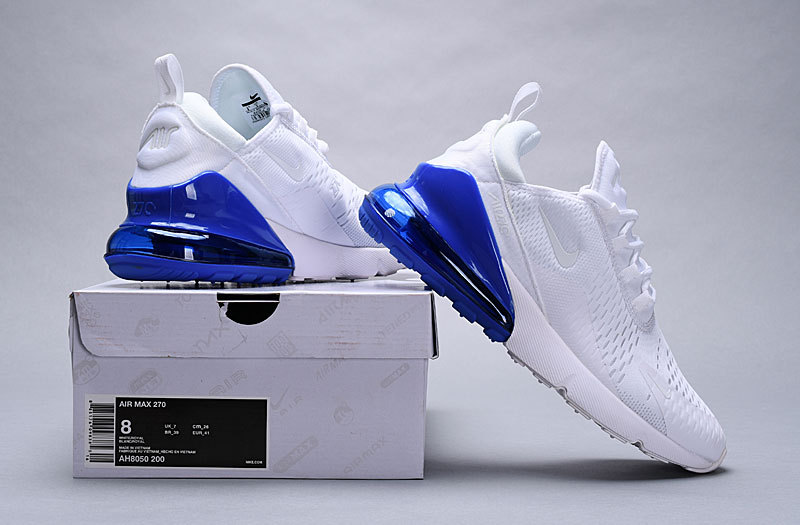 meet 29d3b 1055c Direct factory Nike Air Max 270 White/Metallic Silver/Photo Blue AQ7982 100  Women's Men's Casual Shoes AQ7982-100A