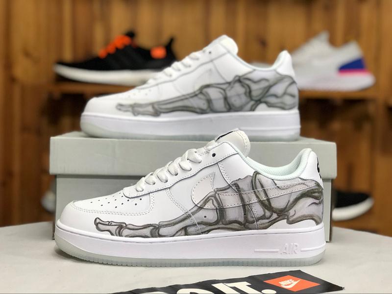 check out f23aa b7ed9 Nike Air Force 1 Low Skeleton Halloween White BQ7541-100 Women's Men's  Sneakers BQ7541-100