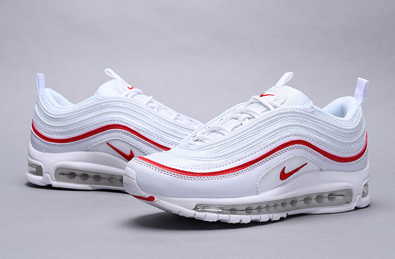 quality design b1956 d0a82 Nike Air Max 97 OG Pure Platinum University Red White AR5531 002 Women's  Men's Casual Shoes AR5531-002A