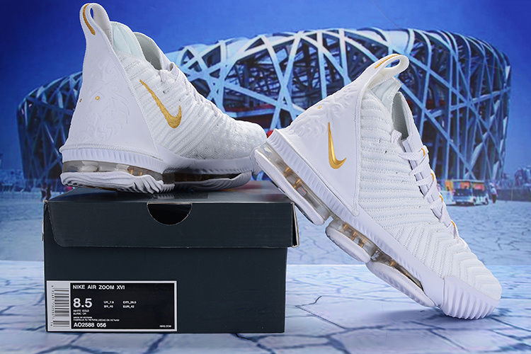 f8456eab559 Nike LeBron 16 EP White Gold AO2588 056 Men s Basketball Shoes ...
