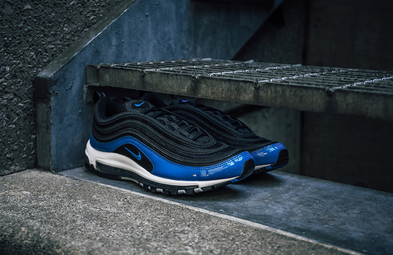 hot sale online f13be 057cf Nike Air Max 97 black/blue nebula-wolf-grey-white 921826 011 Women's Men's  Casual Shoes 921826-011
