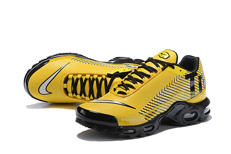 55305144cd Men's Nike Mercurial TN Air Max Plus Yellow Black White Running Shoes