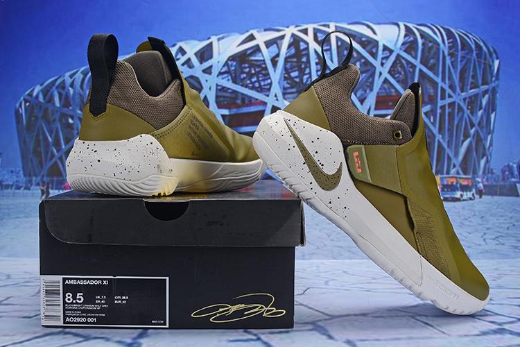 check out 93afe bc0fb Nike LeBron Ambassador 11 LBJ Army Green White Men's Basketball Shoes  NIKE-ST004623