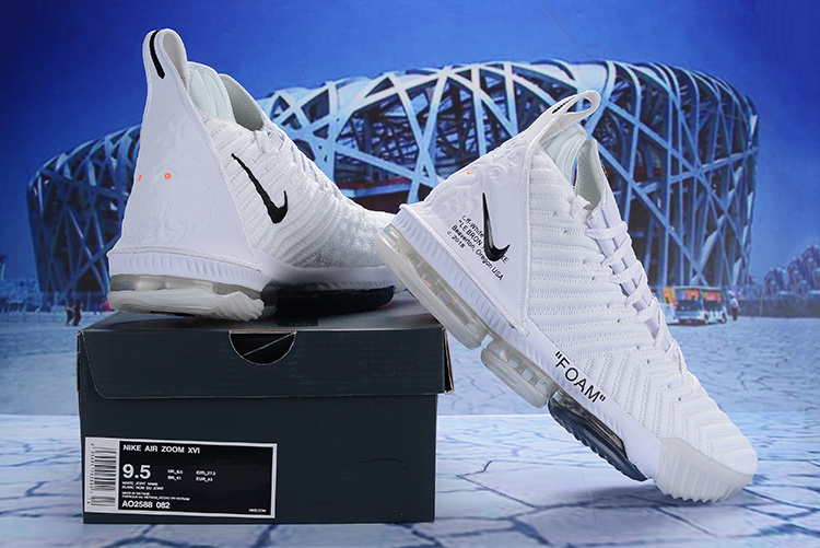 8d3849d0908 Off White Nike LeBron 16 EP Foam White Black AO2588 082 Men s Basketball  Shoes