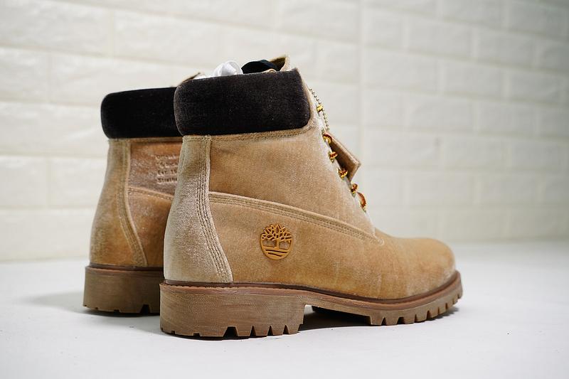 8970461e90a05 Virgil Abloh OFF-WHITE x Timberland Velvet Hiking Boots Velvet wheat yellow  black brown Mens