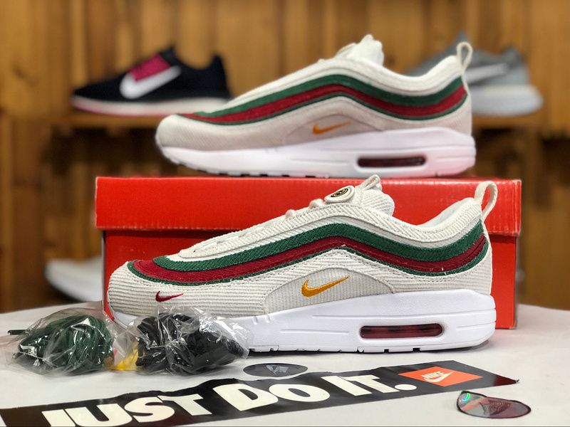 9b15b2ca0d Nike Air Max 97/1 Sean Wotherspoon White Red Green AJ4219 163 Women's Men's  Winter Casual Shoes AJ4219-163 | WithTheSale.com
