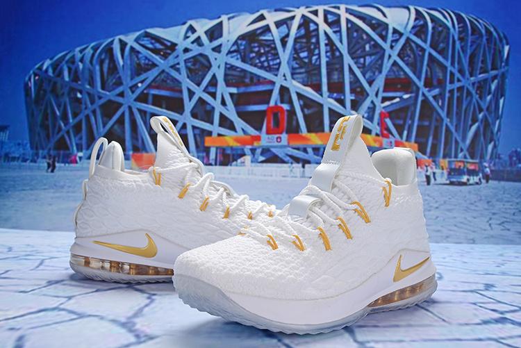 b5d2d6917f2 Nike LeBron 15 Low White Metallic Gold AO1756 603 James Men s Basketball  Shoes
