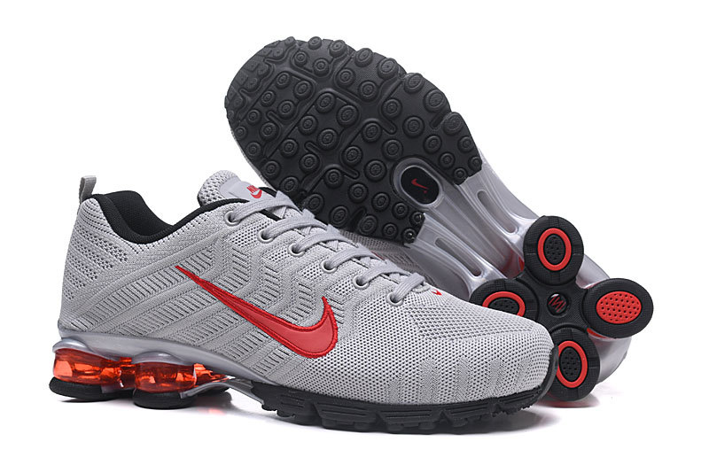 separation shoes b579d 226d4 Nike Air Shox Flyknit Cool Grey Red Black Men s Running Shoes