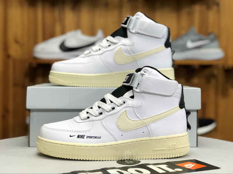 best loved 81683 1fda5 Nike Air Force 1 High Utility White/Light Cream-Black-White AJ7311-100  Women's Men's Sneakers AJ7311-100A